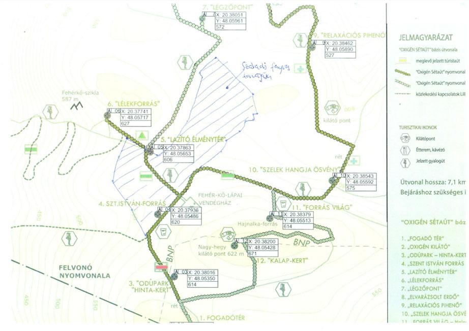 Lillafüredi libegő sétaút térkép